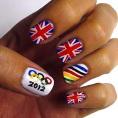Something tells me Flo-Jo never had nails like this. Celebrate the Olympics and London on your hands with this custom nail job.