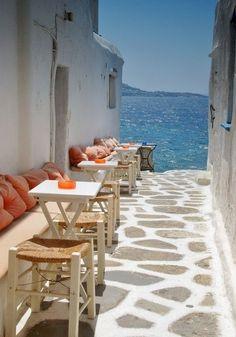 Seaside cafe, Mykonos, Greece #NaaiAntwerp