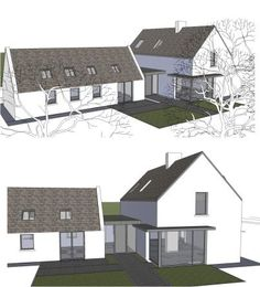 Top Bungalow Home Renovation Ideas Bungalow Extensions, House Extensions, House Designs Ireland, Cottage Extension, Plans Architecture, Cottage Renovation, Modern Farmhouse Exterior, Future House, Building A House