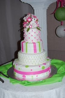 lime green and hot pink wedding cakes fondant stargazer lilly pink lime green and paisley 16896