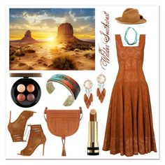 """Wilder Southwest:  Copper Sands Resort"" by wildersouthwest ❤ liked on Polyvore featuring Design Art, Derek Lam, YOSUZI, Gianvito Rossi, Gucci, Yves Saint Laurent, Miss Selfridge, MAC Cosmetics, southwestern and southwest"