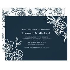 Secret Garden Wedding Invitation | Navy - chic design idea diy elegant beautiful stylish modern exclusive trendy