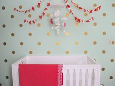 Gold Polka Dot Wall Decals - we are all in on the pops of gold in the nursery!