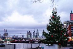 How gorgeous is London  Crisp cold air and sharp angles of the City backdrop...  #lovelondon #london #londontown #londonatnight #londonsky #londonskyline #christmas #christmastree #festive #oxotower #riverside #southbank #londoncity #citylife