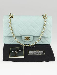 Chanel Mint Green Quilted Lambskin Leather Medium Classic Double Flap Bag SALE 3,000