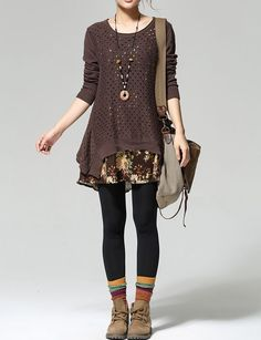 """monsterthigh: """" Retro Knitted Printed Long Sleeve Patchwork Sweater Dress Color Options) Use . Clothes monsterthigh: """" Retro Knitted Printed Long Sleeve Patchwork Sweater Dress Color Options) Use … Mode Outfits, Fall Outfits, Casual Outfits, Fashion Outfits, Womens Fashion, Earthy Outfits, Look Fashion, Autumn Fashion, Earthy Fashion"""