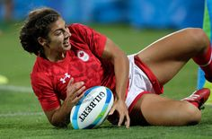 Bianca Farella of Canada celebrates after scoring Australia try during the Women's Bronze Medal Rugby Sevens match between Canada and Great Britain on Day 3 of the Rio 2016 Olympic Games at the Deodoro Stadium on August 8, 2016 in Rio de Janeiro, Brazil.