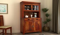 Crockery Unit: Buy Wooden Crockery Cabinet Online Upto OFF Kitchen Cabinets Models, Wooden Kitchen Cabinets, Kitchen Furniture, Crockery Cabinet, Hutch Cabinet, Crockery Units, Kitchen Pantry Design, Buy Kitchen, Wooden Almirah