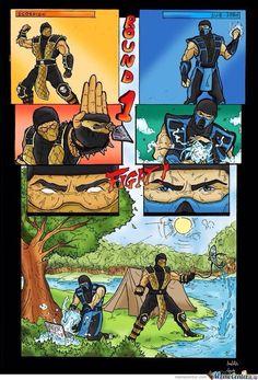 Mortal Kombat funny comic by ~GreenBBB on deviantART Art Mortal Kombat, Mortal Kombat Comics, Mortal Kombat Memes, Reptile Mortal Kombat, Sub Zero, Video Games Funny, Funny Games, Skorpion Mortal Kombat, Geeks