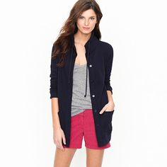 Funnelneck knit cardigan-- I would so wear this. Simple and cute!