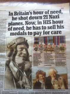 The family of a legendary World War Two pilot are having to sell his treasured medal collection for £120,000 to pay for the hero's care home fees.    Wing Commander Bransome 'Branse' Burbridge was the RAF's most prolific night-fighter pilot of the war, claiming 21 enemy kills.    He downed four German planes in a single sortie and saved thousands of lives by destroying three of Hitler's fearsome V1 rocket bombs aimed at London.