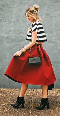 crop top and midi skirt