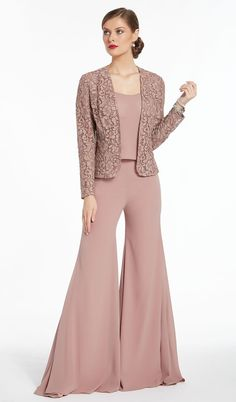Alyce Paris - 27299 Three-Piece Bell Pantsuit with Lace Jacket