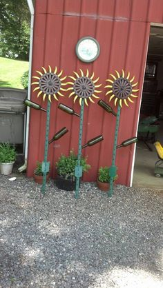 gear wine bottle and fence post Sunflowers
