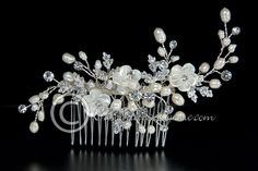 Wedding Hair Comb of Shell Flowers and Pearls