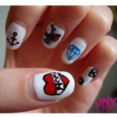 old school tattoo nails!