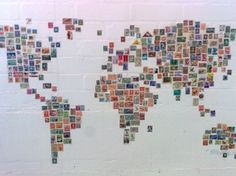 Map of the world made from the appropriate national stamps