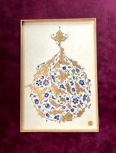 Sarılma Rumi ;Tezhip Tasarım Sema Yekeler Yurtseven Turkish Art, Ceramic Jewelry, Islamic Calligraphy, Islamic Art, Vintage World Maps, Floral Design, Miniatures, Scribe, Artist