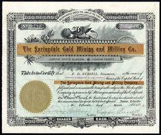 Springdale Gold Mining & Milling Co., $1 shares, Denver, Colorado, 1894 in Colorado