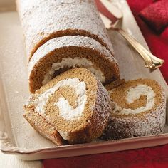 Pear Gingerbread Cake Roll Recipe -Crave the taste of gingerbread at Christmastime? Why stop at making cutout cookies? Enjoy this elegant swirled dessert. It dresses up a spiced molasses cake with a luscious pear filling. —Gwen Beauchamp, Lancaster, Texas