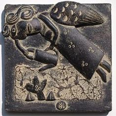 Wall pieces (tiles?) by Englishsculptural potter John Maltby (b 1936). via…