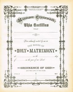 Create a unique framed gift for a wedding or anniversary with this Antique Certificate of Marriage Printable via KnickofTime.net