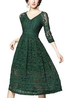 7038269593 Shop Green V Neckline Hollow Out Lace Dress online. Metisu offers Green V  Neckline Hollow