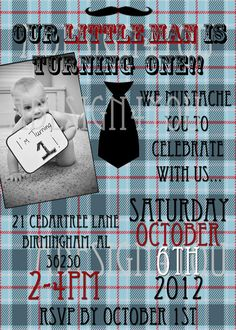 Little Man Birthday Invitation by ADesign4You on Etsy, $15.00