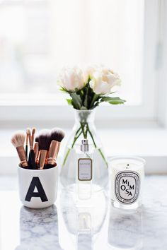 My Home Office - Alexa Dagmar Makeup Vanity Decor, Makeup Desk, Walk In Closet Inspiration, Decorating Your Home, Interior Decorating, Beauty Corner, Roomspiration, Scandinavian Home, Beauty Room