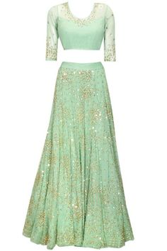 Mint green sequins and beads embroidered lehenga set available only at Pernia's Pop-Up Shop. Mint green sequins and beads embroidered lehenga set available only at Pernia's Pop-Up Shop. Choli Designs, Lehenga Designs, Salwar Designs, Bridal Lehenga, Lehenga Choli, Green Lehenga, Sharara, Wedding Sarees, Sabyasachi