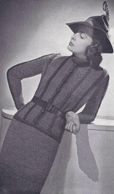 Vintage 1930's 2-Piece Dress Suit Knitting Pattern