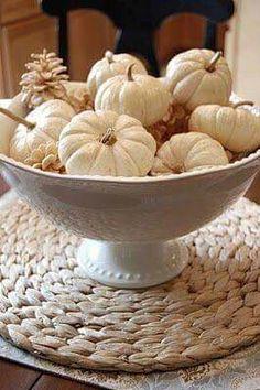 Bowl of white pumpkins