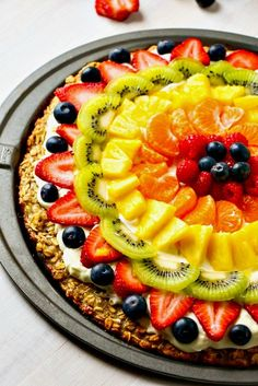 Healthy Fruit Pizza with oatmeal banana cookie crust | Layers of Happiness