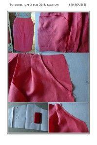 Voici un petit tutoriel, enfin gros, qui montre les différentes étapes de la réalisation d'un jupe à plis (2 plis différents), avec poches, fente d'aisance et parementure à la ceinture clic pour le tutoriel jupe à plis (pdf) 11 pages, env 50 photos NB:...