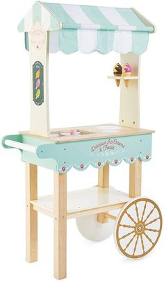 modern vintage outdoor ice cream cart Play Ice Cream, Ice Cream Menu, Ice Cream Flavors, Ice Cream Cart, Play Grocery Store, Mini Chalkboards, Fabric Canopy, Ice Cream Treats, Pull Toy