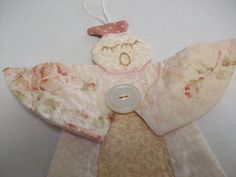 Quilted Angel Ornament, Christmas Holiday Decoration, Hand Embroidery, shabby chic pink by brenniequilts on Etsy