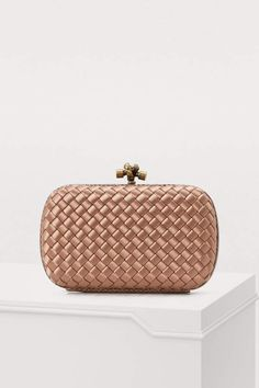 8d207fddf9 Bottega Veneta Knot Satin And Watersnake Clutch