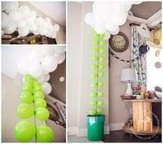 Small green balloon vine White balloon cloud strip/arch