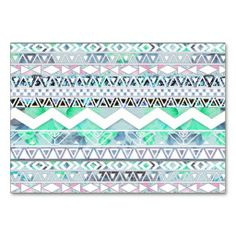 Teal Girly Floral White Abstract Aztec Pattern Table Card