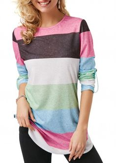876ce48727d Color Block Round Neck Roll Tab Sleeve T Shirt on sale only US 27.99 now