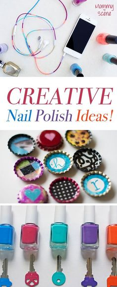 Creative uses for your nail polish stash. Make colorful headphones, custom art with bottle caps, color-coded keys and more!
