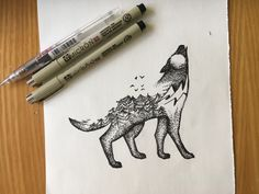 Wolf art idea, looks great