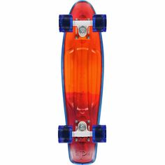 The Penny cruiser is a fun mini cruiser skateboard that will have you smiling all day. Built with an orange and blue resin injection molded deck this Penny deck comes fully assembled and ready to shred right out of the box with a  blue top sheet inspired by the resin from surfboard designs. This cruiser complete comes with white Penny trucks and clear blue Penny 59mm 79a softie cruiser wheels for a smooth ride. The Resin mini cruiser board from Penny Australia is going to be a great little…