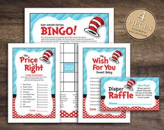 Instant Download, Dr. Seuss Theme Baby Shower Game Package for Boy Girl Unisex, Bingo Cards, Price Is Right, Wish for Baby Diaper Raffle 40A