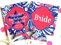 She Sells Bachelorette or Birthday Beach koozies. Lilly party favors. Beach vacation koozies!
