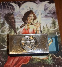 Pentacle Pewter Wooden Matchbox Holder Wiccan by PurpleMoonCraft, $18.00 Pagan Witch, Wiccan, Pewter Art, Triple Moon Goddess, Asatru, Pentacle, Samhain, Halloween Gifts, Occult