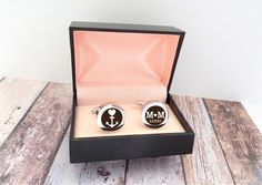 Personalisierte Manschettenknöpfe für den Bräutigam, Hochzeitsaccessoire, Hochzeitsmode / personalized cufflinks for the groom, groom, wedding fashion made by Something-4-you via DaWanda.com