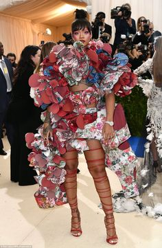 Just another casual night out: Rihanna didn't hold back in her fabulous Comme des Garçons ...
