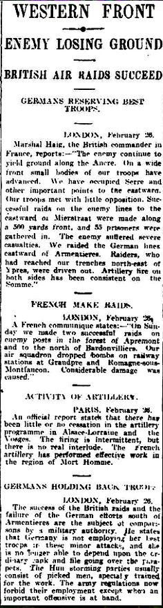 """WWI, 27 Feb 1917; """"The enemy continue to yield ground along the Ancre"""" -Daily Herald, Adelaide"""