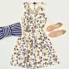 Outfit layout - H&M floral dress + Nine West Sandals by Stylish Petite, via Flickr